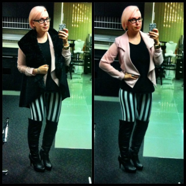 Beetlejuice Leggings and Pink Chiffon Jacket from StaffByMaff