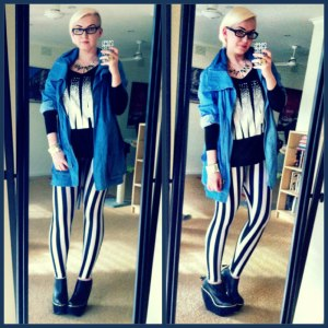 Beetlejuice Leggings and Denim Anorak from Nasty Gal