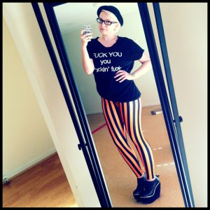 Beetlejuice Orange Leggings and Fuck You Tee from Local Heroes