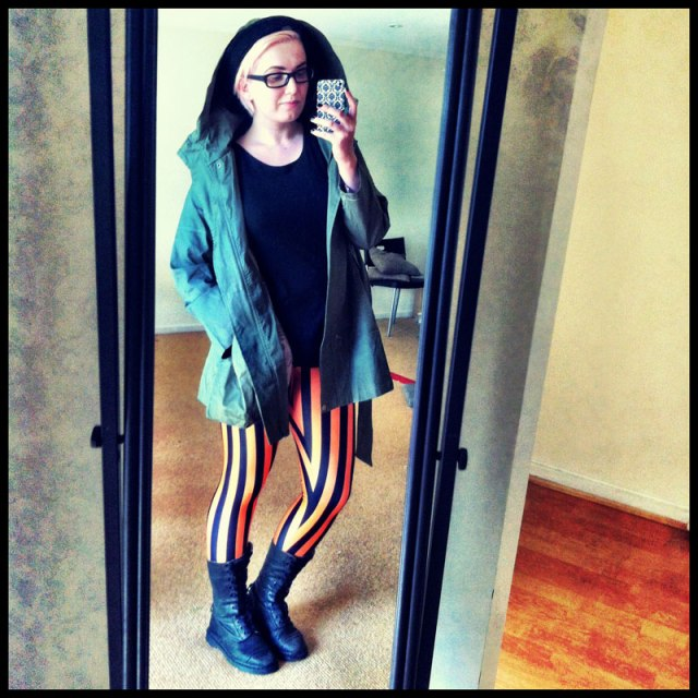 Beetlejuice Orange Leggings and Green Parka