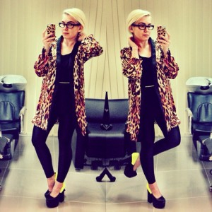 Fashion Blog Black Milk Triangle Leggings, Neon Shoes, Tiger Print Kimono, EKG Tank StaffByMaff